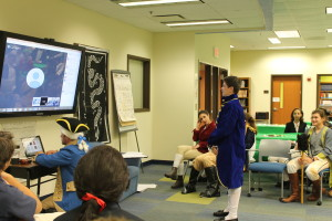 The annual eighth-grade re-enactment of the Second Continental Congress has taken on a modern twist with the addition of an interactive Skype session with students from around the country and Britain.