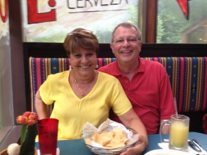 Dorothy Fierman Carrillo and Tom Dell get into the Ray's Rio Bravo spirit during a preview meal at the restaurant Ray Schoenbaum has opened in Sandy Springs.