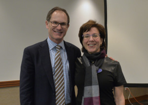 Douglas Kuniansky, now the interim CEO of the Marcus Jewish Community Center, and former CEO Gail Luxenberg pose at the JCC's annual meeting in March.