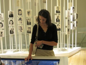 Atlanta Jewish Academy Junior High science teacher Suzanne Sears explores the National Center for Civil and Human Rights. (Photo by Leah Braunstein Levy)