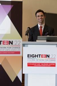 Eighteen:22 founder Robert Saferstein speaks at the gathering in Salzburg.