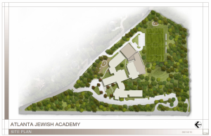 This site plan shows the proposed additions (dark gray) to Atlanta Jewish Academy's Northland campus.