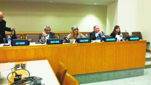 """Rabbi Analia Bortz, who says Nostra Aetate opened a """"new concept of reconciliation between Jews and Christians,"""" speaks at a forum on anti-Semitism held at the United Nations in August."""