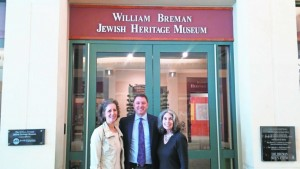 Exhibition chair Ruthanne Warnick (left) and centennial celebration chair Phyllis Cohen flank Breman Museum Executive Director Aaron Berger.