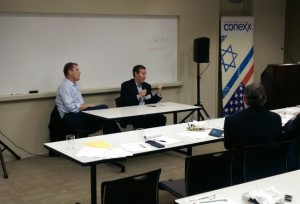 Photos by David R. Cohen Alon Zaibert (left) and Mark Satisky take questions to close out the Conexx session Sept. 30.