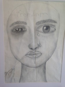 "This drawing by North Atlanta High School student Adonis Fuentes is titled ""Freedom."""