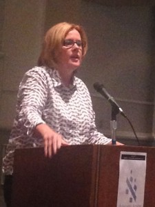 State Sen. Renee Unterman, the driving force in the Senate behind this year's safe harbor law, speaks during the program at Ahavath Achim Synagogue.