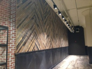 Hardwoods decorate the floors and the walls of the market.