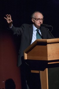 Rabbi James Rudin who spent decades working to bring real-life meaning to the words of Nostra Aetate speaks to the crowd at Georgia Tech's Ferst Center. (Photo credit – Thomas Spink Georgia Bulletin)
