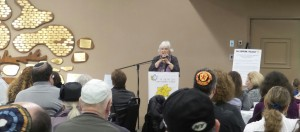 Holocaust survivor Ilse Eichner Reiner tells the Beth Shalom audience about her experiences during the war.