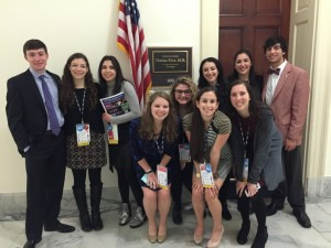 The four AJA students  (Seniors Zoie Wittenberg, Maia Dori, Daniella Sokol and Batel Man) and other Georgia high school students visit the office of Rep. Tom Price (R-Roswell).