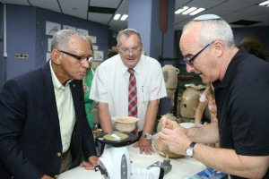 Photo by Yoni Reif Aren Maeir (right), the director of the Ackerman Family Bar-Ilan University Expedition to Gath, shows one of the finds to NASA Administrator Charlie Bolden (left) and university President Rabbi Daniel Hershkowitz during Bolden's recent visit to the campus in Ramat-Gan. You can follow Maeir's progress at his blog, gath.wordpress.com, where he also has information about participating in the annual July dig.