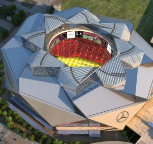 This artist's rendering depicts Mercedes-Benz Stadium with the roof open. (Courtesy AMB Group)