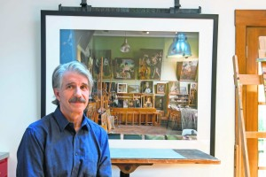 Frank Joseph says the Russian art studio shown in this Andrew Moore photo coincidentally mimics his own home studio in lighting and setup.