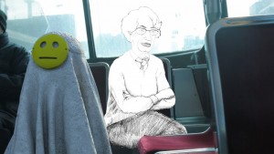 An animated Razie rides the bus.