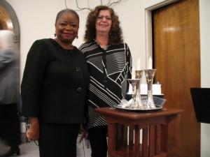 Dr. Vanessa Johnson and B'nai Israel President Sharon Hudgens