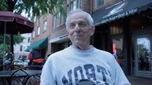 Jerry Farber, who played tennis for the University of North Carolina many moons ago, sports a North Carolina sweat shirt.