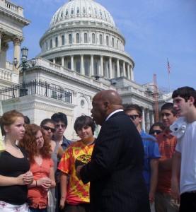 Congressman John Lewis speaks to Etgar 36 participants outside the U.S. Capitol.