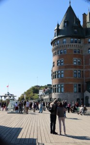 The Dufferin Terrace overlooks the Old Port and the St. Lawrence riverfront. The Chateau Frontenac is on the right.