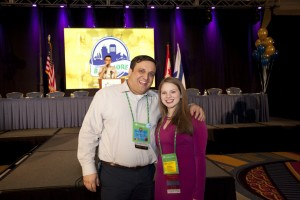 Hailee Grey poses with Rabbi David Levy, the director of teen learning for the United Synagogue of Conservative Judaism, after her farewell speech in Baltimore.