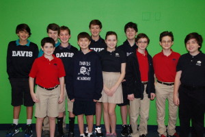 The Davis Academy Middle School students who finished in first place are (back row, from left) Andrew Levingston, Matthew Aronin, Andrew Altmann, Ethan Wolfson and Stephen Rusnak and (front row, from left) Eli Weiser, Derek Coffsky, Caroline Goldman, Jordan Liban, Jake Friedman and Lucas Jannett.