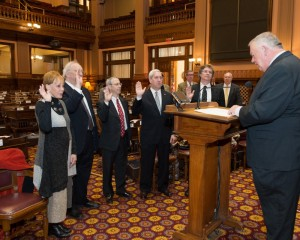 House Speaker David Ralston swears in (from left) Jody Franco, Rabbi Philip Kranz, Robert Wittenstein, Andy Bauman and Michael A. Morris as members of the Georgia Commission on the Holocaust on Jan. 19.