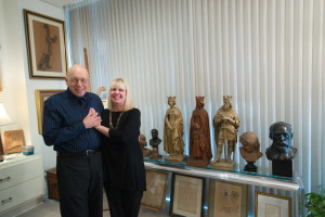 Michael and Lana Schlossberg enjoy the plaster French monarchs by David d'Angers in their master bedroom.