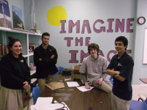 (Photo courtesy of Jonah Queen) Atlanta Jewish Academy students (from left) Daniella Sokol, Joshua Bland, Jesse Cann and Jonathan Bashary prepare for the physics challenge. Not pictured is team member Maia Dori.
