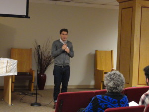 Jacob Levkowicz, American Jewish Committee's first assistant director of campus affairs, speaks about campus anti-Semitism at the Weber School on March 20.