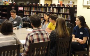 Jacob Levkowicz talks with students during a breakout session.