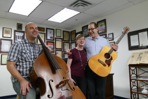Hello, Goodbye & Peace — Rabbis Micah and Loren Lapidus and Bet Haverim Chorus Director Will Robertson — visit the AJT offices March 17 to play a few songs from their new album.