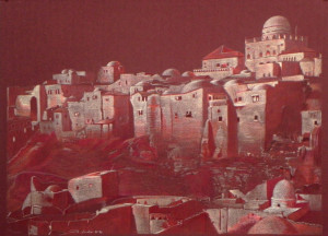 """Drawn on his trademark burgundy paper for his Jerusalem series, """"Jerusalem: The Old Jewish Quarter"""" is inspired by Daniel Sachs' year of study in Jerusalem at the Hebrew University in 1976-77 and is based on a pre-1948 photograph. The domed building at the top, the Hurva Synagogue, was destroyed by the Jordanians in 1948 and rebuilt in 2010."""