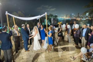The view of Tel Aviv is only one of the special elements of the first Israeli wedding at which Rabbi Daniel Dorsch officiated.