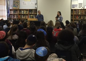 IDF veterans Isaac and Shir speak at the Atlanta Jewish Academy Upper School on Feb. 22.
