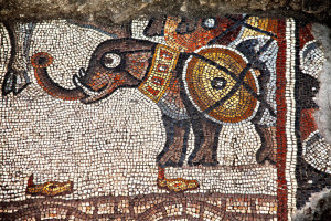 This mosaic elephant is part of the earliest-known nonbiblical story depicted in a synagogue.