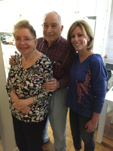 """I have grown so much as a person from this experience,"" says Shelly Schwartzenfeld (right), who volunteers with Elaine and Frank Seidman."