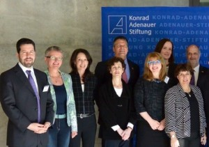 Melanie Nelkin (third from left) and Ilene Engel (fourth from left) represent Atlanta as part of American Jewish Committee's Konrad Adenauer Foundation exchange cohort.