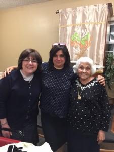 Rhoda Gleicher and her mother, survivor Helen Gerson, visit with Chabad of Peachtree City's rebbetzin, Shternie Lew (center).