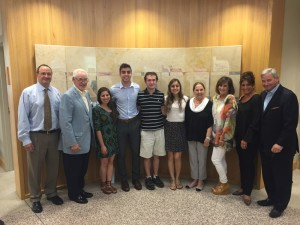 Scholarship winners Jessica Nooriel, Daniel Azizi, Andrew Alter and Rebecca Sirota are joined by Todd Maziar and Harry Maziar to the left and by Sherry Maziar, Lisa Philipson, Amy Sue Maziar and Neal Maziar to the right.