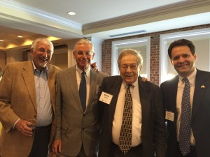 Those honoring Marty Kogon on May 5 include (from left) Jerry Blumenthal, Alan Lubel, former Congressman Elliot Levitas and Kevin Levitas.