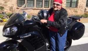 Photo by Judy Landey. Elizabeth Sherman remains a motorcycle mama after a century of keeping active.