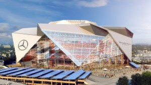 The $1.4 billion Mercedes-Benz Stadium is due to open in time for the 2017 Atlanta Falcons season.