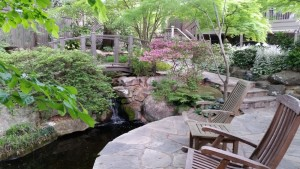 The Ash back yard offers a network of koi ponds with overpasses.