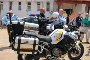 Israeli traffic officers offer a demonstration to members of the GILEE delegation.