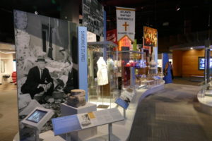 The 1958 bombing of The Temple is a prominent part of the religion section of the exhibit.