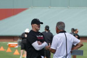 Head Coach Dan Quinn and Arthur Blank at Falcons training camp.
