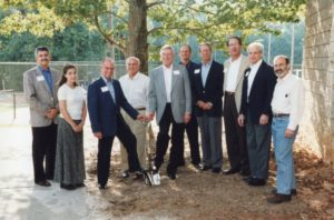 Erwin Zaban and Bernie Marcus are at the center of a distinguished group of community leaders at the groundbreaking that led to the opening of the Zaban-Blank Building in April 2000.