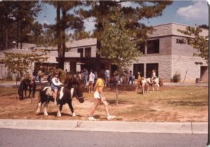 Pony rides remain a feature of the day camp even after the addition of Zaban Park's full-service building in 1979.