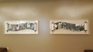 Local artist Rosanne Kauss created the piece on the right, depicting the seven days of creation, more than a decade ago, and Or VeShalom went back to her and commissioned the work on the left, showing seven important holidays, as part of the renovations.