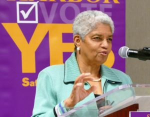 """I'm here because I'm voting yes for Safe Harbor,"" former Atlanta Mayor Shirley Franklin says."